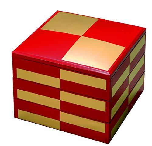 若泉漆器 3段重箱 7寸若菜重 朱金市松 (内黒) H-159-14-A