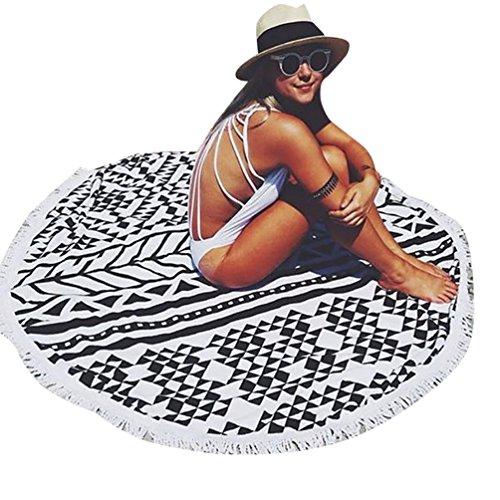 RoomClip商品情報 - (ミンタイ)mingtaiビーチタオル ラウンドビーチタオル タオル マット おしゃれ 夏 海 日焼け止めショール 150*150cm ブラック