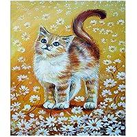 動物Diy猫と花5Dダイヤモンド塗装キットフルドリルラインストーンクリスタル刺繍写真クロスステッチアート家の装飾、40×50センチ