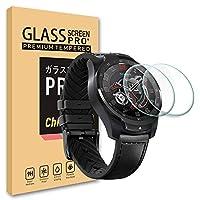 Ticwatch Pro ガラスフィルム フィルム 専用 時計 用 保護 シート 液晶 フィルム 2.5D ラウンド エッジ 加工 薄型 高透過率 硬度9H 飛散防止処理 気泡 防止 自動吸着 強化ガラス 保護 フィルム【2枚入り】 (Ticwatch Pro)