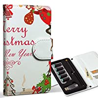 スマコレ ploom TECH プルームテック 専用 レザーケース 手帳型 タバコ ケース カバー 合皮 ケース カバー 収納 プルームケース デザイン 革 クリスマス リース 雪だるま 009975