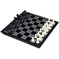 Kobwa(TM) UB 9.75inch Travel Magnetic Chess, Checkers and Backgammon Set(Black&White) with Kobwa's Keyring