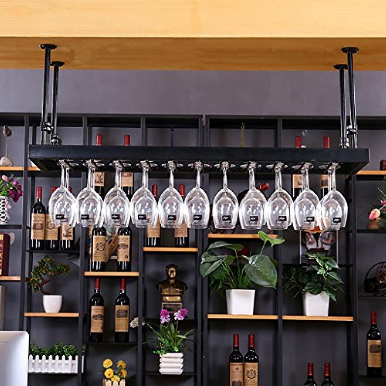 アイアンレトロインダストリアルスタイルバーレストランハンギングカップホルダーバー装飾ワインラックワインカップホルダーハンギングカップホルダー (色 : Black, サイズ さいず : 100 * 35cm)