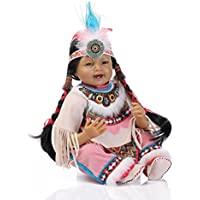 NPKDOLL Rebornベビー人形インディアンスタイルブラックスキン22インチ55 cmシミュレーションSiliconeビニールLifelike Vivid Boy Girl Toy Smile
