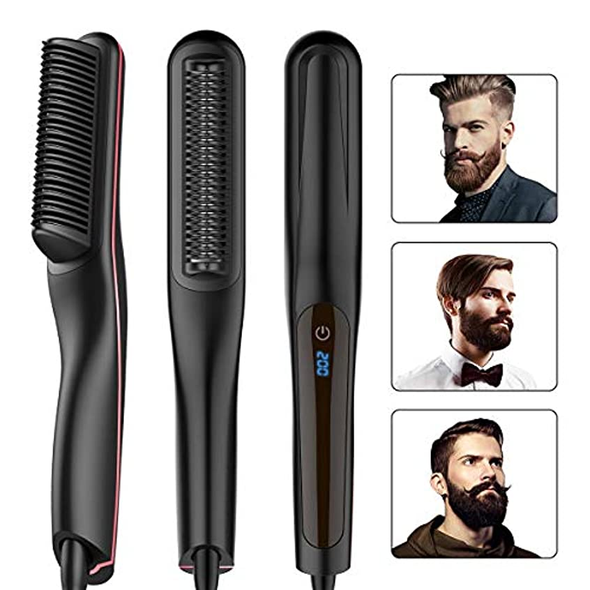 ポジションフォーマット冗談で毛矯正ブラシひげ櫛-16 MM-20 MMの男性&女性電気クイックポータブル髪矯正もつれ熱ブラシを矯正,黒