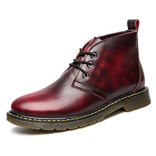 本革 メンズ ブーツ カジュアルスタイル 魅力的 ファッション ハイカット マーチン 革靴 エンジニア ブーツ 通気性 防水性 レッド