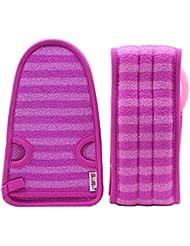 紫色の女性のための柔らかいミトンの剥離の手袋の風呂用ベルトの2