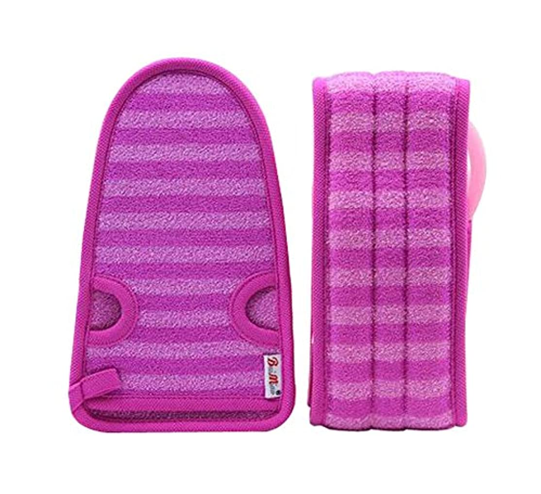 邪魔する緊張洗剤紫色の女性のための柔らかいミトンの剥離の手袋の風呂用ベルトの2