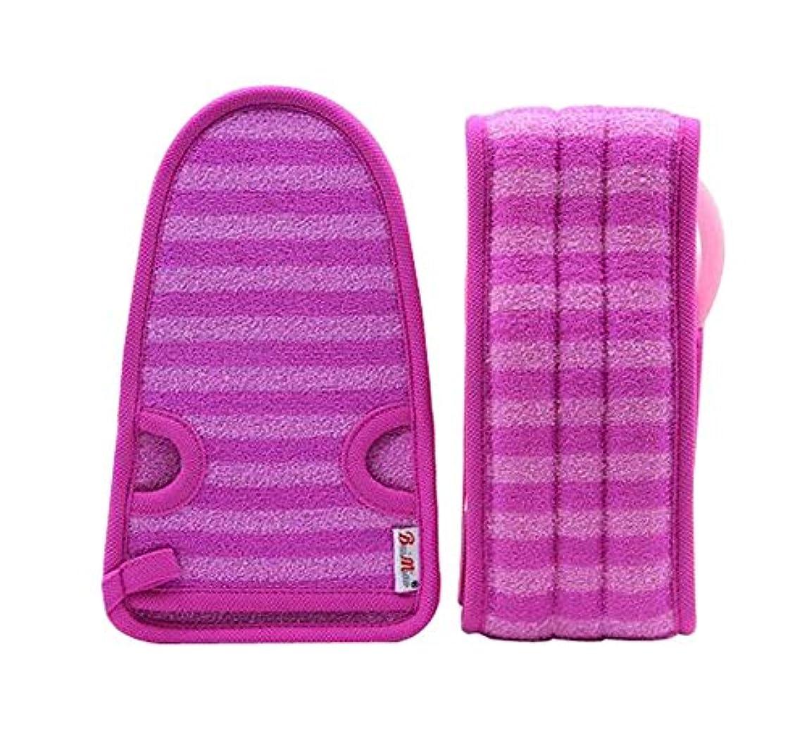 却下する派手本紫色の女性のための柔らかいミトンの剥離の手袋の風呂用ベルトの2