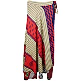 Womens Vintage Wrap Skirt Two Layer Vintage Sari Reversible Beach Dress Cover Up