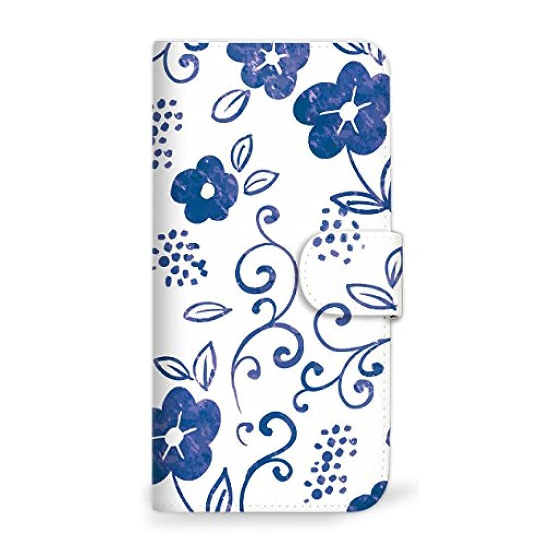 この鷲スポットmitas Galaxy S8 Plus SM-G955 ケース 手帳型  草花 かわいい ブルー (342) SC-0385-BU/SM-G955