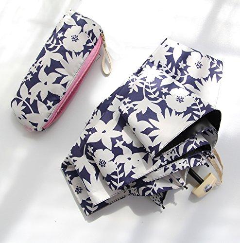 Sotia 折りたたみ傘 レディース 晴雨兼用 日傘 かわいい花柄模様 軽量 208g コンパクト 紫外線遮蔽率99% おしゃれ UVカット99% プレゼント ギフト 収納ポーチ付 (青い花)