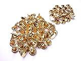 【jewel】両面カシメ 大 並足 頭8mm 足8mm 3色から選択可能 100個セット 手芸 ハンドメイド アクセサリー (金)
