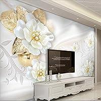 Bzbhart 美しい3D花ヨーロッパのテレビの背景の壁カスタム大壁画の緑の壁紙の壁画-300cmx210cm