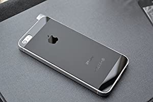 iphone55S 9H強化ガラスフィルム 指紋防止 艶消し 前後完全保護ケース、0.2MM 超軽量 (3色) (黒)