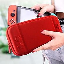 VAGHVEO Nintendo Switch ケース 保護カバー 消臭処理 EVA素材 耐衝撃 防水 防汚 10個ゲームカード収納バッグ 超軽量 持ち運び便利- レッド