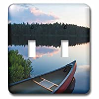 3dローズLSP 230866_ 2A Canoe On Little Berry池でMaines Northernフォレスト。サンセット。ダブル切り替えスイッチ