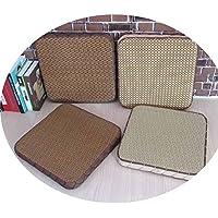 ストローの茶アート籐布団厚い四角い窓の畳のクッションラウンドクッションのソファのクッション,ブラウンビッググリッド,45*45*10