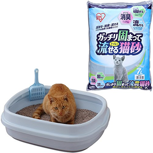 アイリスオーヤマ ネコのトイレ NE-550 ミルキーブルー