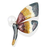 YAZILINDファッション昆虫色ラインストーン蝶襟ブローチピン女性コサージュブレストピンパーティージュエリーギフトMulitcolor-4