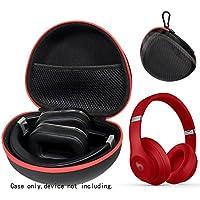 Headphone case for Beats studio3、studio2.0、Studioワイヤレスヘッドフォンby alltravel、ユニバーサル折りたたみ式ヘッドホン、簡単にGoカラビナ、強力なコンパクトライト重量セミハードケース、ブラック+レッドZip