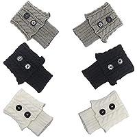 Kaptin Button Style Short Crochet Leg Warmer, Knitted Boot Cuff Sock, Womens Winter Short Boots Socks Leg Warmers, 3 Pairs