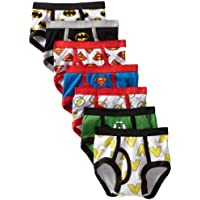 DC Comics Boys TBUP1722-P Justice League 7 Pack Logo Brief Underwear - Multi