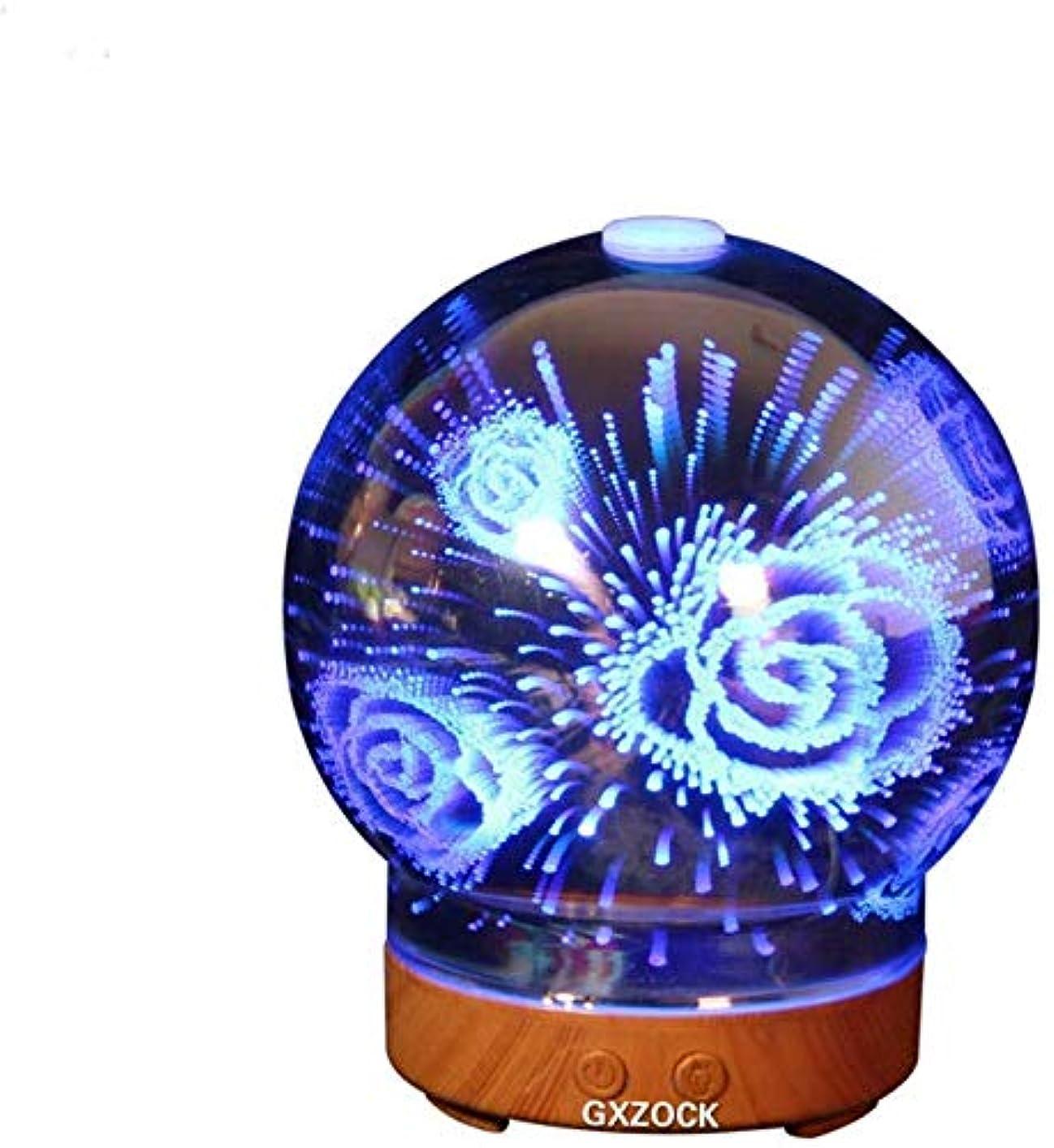 南西裏切り者ヶ月目エッセンシャルオイルディフューザー、3D効果の超音波クールミスト加湿器、アロマエッセンシャルオイル3Dガラスディフューザー100ml、ファンタジーアロマセラピーランプ3Dカラフルミニアロマエッセンシャルオイルディフューザーヒュミディデコレーション