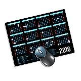 """新しい年2016カレンダーブラックwith Holidays On 1?/ 4?""""スーパー厚いゲームマウスパッドNon Skidすべて天然ゴムマウスパッドwithポリエステルby S &Sアクセサリー( TM )"""