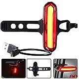 自転車テールライト セーフティライト USB充電式 LEDランプライト120lm防水超高輝度赤と白 6種点灯モード 充電用マイクロUSBケーブル付属 小型 軽量 装着簡単 山登り