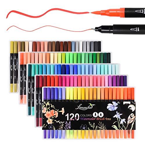 L'émouchet 水彩毛筆 カラー筆ペン 120色セット 水彩ペン アートマーカー 水性 両端ペン先 塗り絵、落書き、イラスト、メモ、手帳適用 子供/大人向け 収納ケース、二本指グローブ、無色水性ペン付き 黒