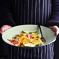 DLyng クリエイティブグリーンセラミック食器麺フルーツサラダプレート12インチボール