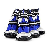 Wuhuizhenjingxiaobu001 ドッグシューズ、防雪防水滑り止めシューズ、中型犬、大型犬用大型シューズ、防水暖かい足、ペット用品、赤、青9# - 12# 快適で通気性 (Color : Blue, Size : 11#)