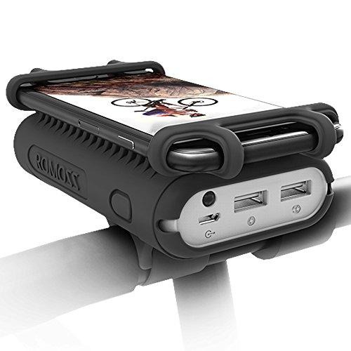 ROMOSS 自転車ホルダー モバイルバッテリー搭載 10000mah 大容量 スマホホルダー シリコン Black UR01