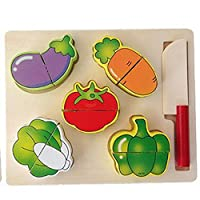 amyove木製Pretend Food Play Set for Kids , Cuttingフルーツ&野菜Play Food Kitchen Toys