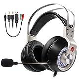 ゲーミングヘッドセット ps4 イヤホン ヘッドホン KEYNICE ステレオ 高音質 マイク付き 3.5mmコネクタ 4極変換ケーブル付き