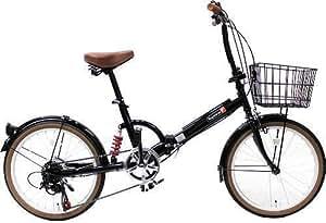 トップワン(TOP ONE) 20インチ折畳み自転車 シマノ外装6段ギア リアサスペンション カゴ・カギ・ライト付 ブラック FS206LL-37-BK ブラック・モカ・オリーブ・パールホワイト・レッド・ターコイズブルー