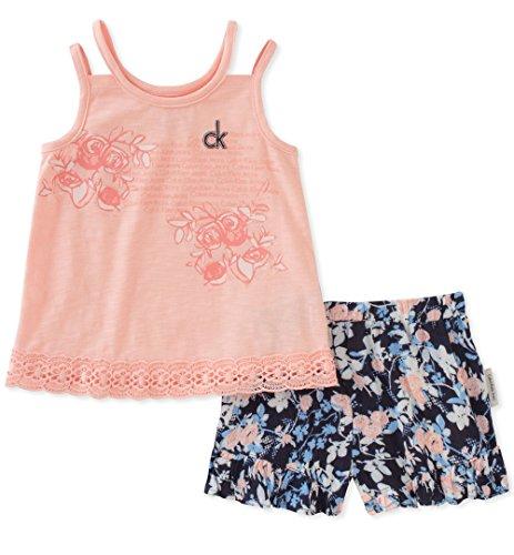 Calvin Klein Baby Girls Flounce Shorts Set, Rose/Print, 12M