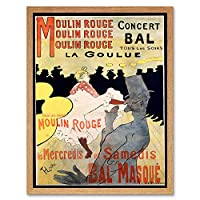 Ad Vintage Lautrec Moulin Rouge La Goulue Mask Ball Art Print Framed Poster Wall Decor 12X16 Inch ビンテージアンリドトゥールーズロートレックマスク玉ポスター壁デコ