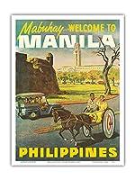 """マニラ、フィリピン -""""Mabuhay""""(ようこそ) - ビンテージな世界旅行のポスター c.1950s - アートポスター - 23cm x 31cm"""