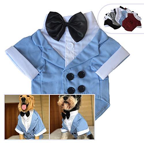 78875e3849e2c 犬の衣装のスーツとネクタイ、子犬のペット小中大型犬のためのスタイリッシュな犬のシャツの蝶ネクタイコスチューム、黒のネクタイとウェディングシャツフォーマル  ...