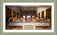 "Alonlineアート–最後の晩餐Leonardo da Vinciシルバーフレーム入りポスター(印刷綿100%キャンバス発泡ボードon )–Ready To Hang   32"" x19""   Framedの寝室の壁アートフレームプリントフレーム付きPaints"