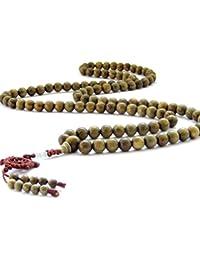 チベット仏教10 mmグリーンサンダルウッドビーズ祈り瞑想Malaネックレス