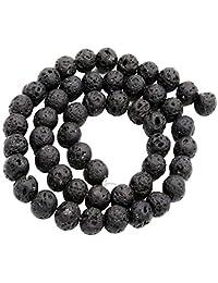 Baoblaze Inside Black Lava Gemstone Loose Beads Well Polished 8mm for Jewelry Making