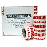 INCREDISEAL Polypro Fragile Tape 3 x 110 Yards 2.30 mil 24 Rolls per Case White (UNPK.AT3-W3028) [並行輸入品]