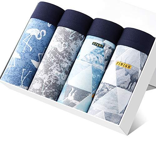Aliux ボクサーパンツ メンズ 下着 4枚組 通気 吸汗 抗菌防臭加工ローライズ ボクサー パンツ ボクサーブリーフ 前閉じ 4インチじ プレゼント 9219-3XL