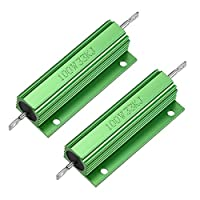 uxcell 100W 33KRアルミニウムハウジング抵抗器 100ワット 33Kオーム グリーン LED PCB用抵抗器 2個入り