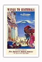 グアテマラ - パンアメリカン航空 - ビンテージな航空会社のポスター によって作成された ポール・ジョージ・ローラー c.1938 - プレミアム290gsmジークレーアートプリント - 61cm x 91cm