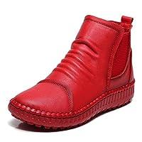 【Topics Garden】ブーツ レディース ショート 牛革 カジュアル サイドゴア風 ラウンドトゥ フラット 防滑(エコバッグ付き)