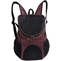 Portable Pet Shoulder Bag Breathable Pet Backpack Outdoor Travel Carrier for Pet Dog Cat Rabbit(Coffee)